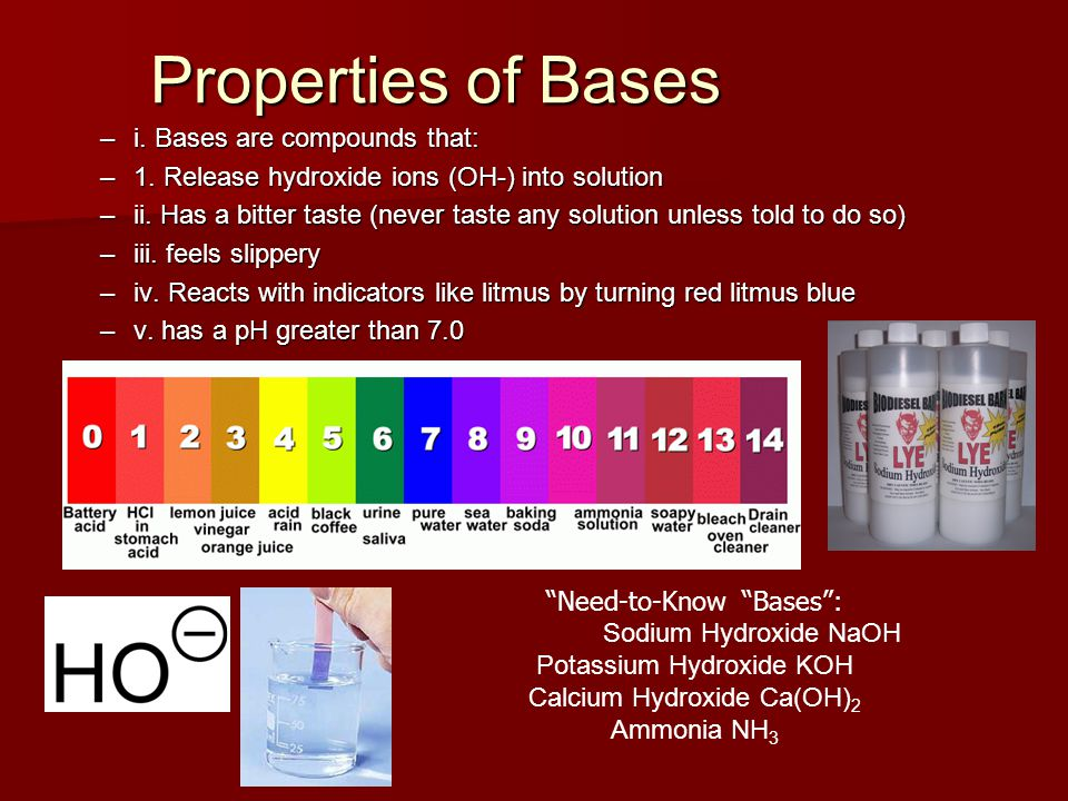Properties of Bases i. Bases are compounds that: