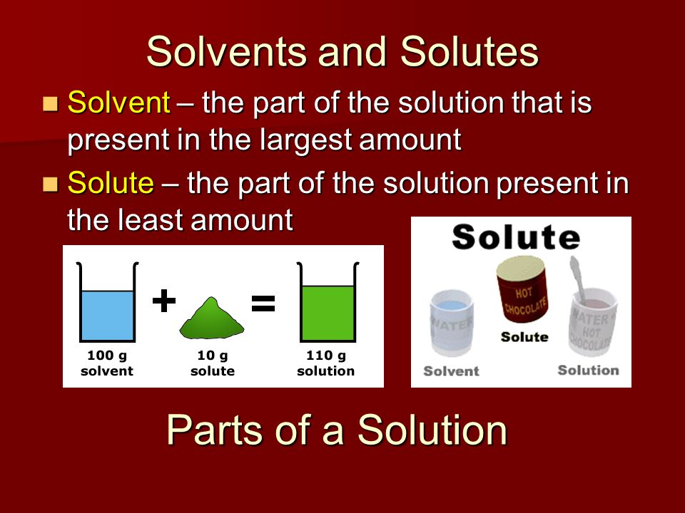 Solvents and Solutes Parts of a Solution