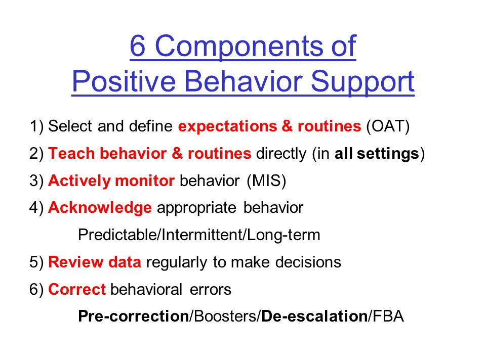 6 Components of Positive Behavior Support