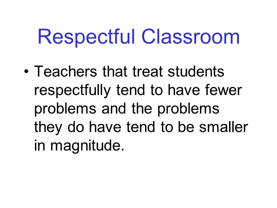 Respectful Classroom