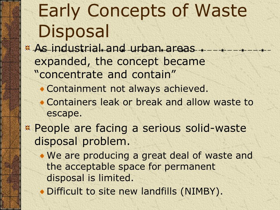 Early Concepts of Waste Disposal