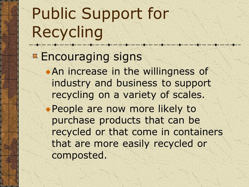 Public Support for Recycling