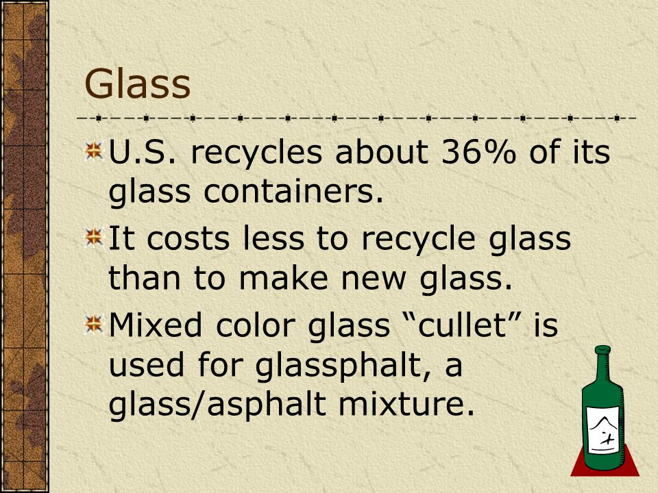 Glass U.S. recycles about 36% of its glass containers.