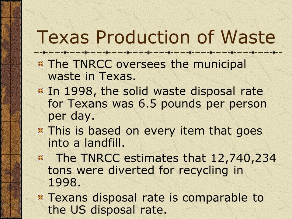 Texas Production of Waste