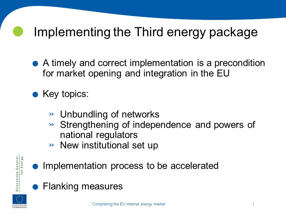 Implementing the Third energy package