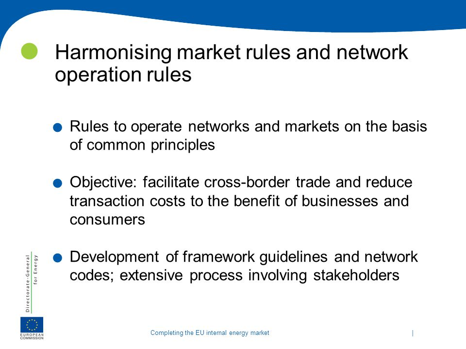 Harmonising market rules and network operation rules