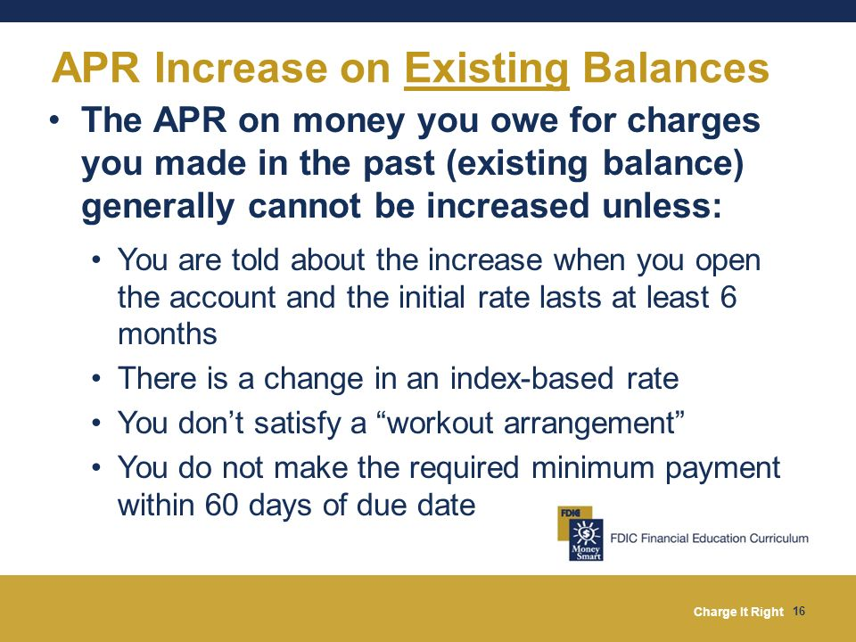 APR Increase on Existing Balances