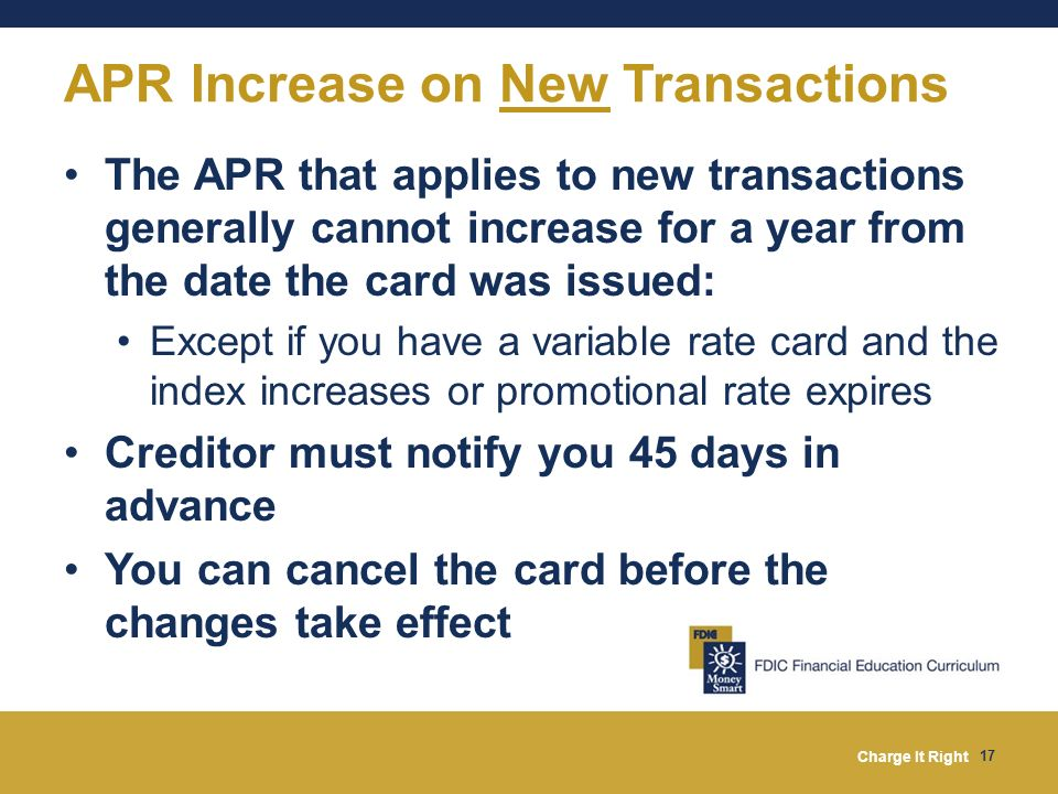 APR Increase on New Transactions