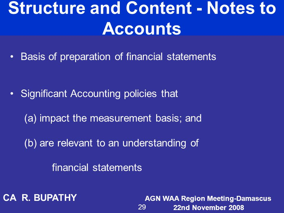 Structure and Content - Notes to Accounts