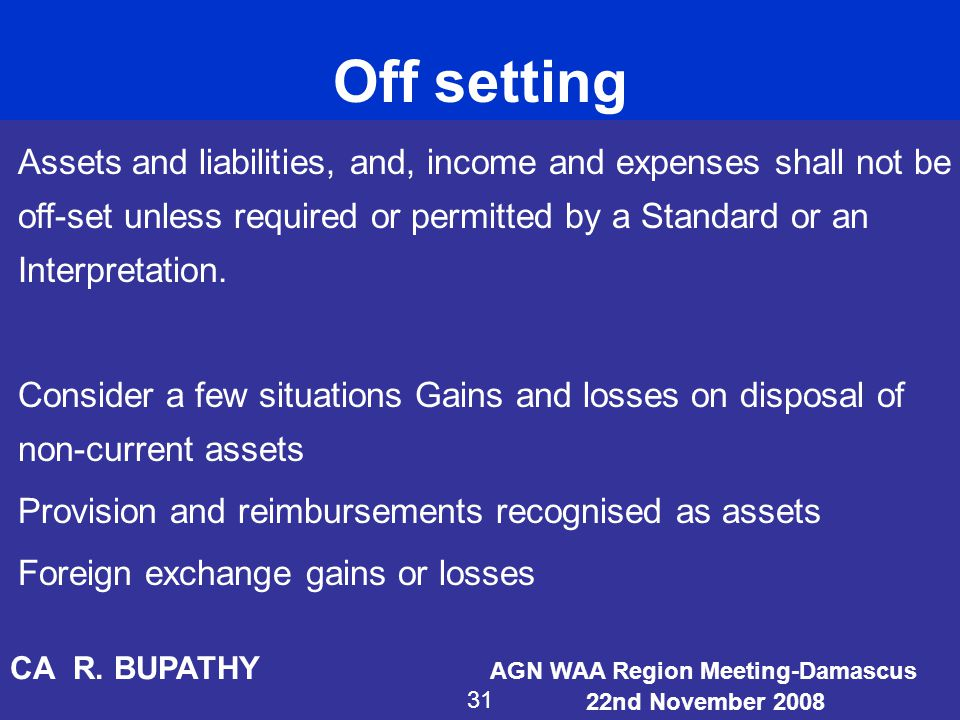 Off setting Assets and liabilities, and, income and expenses shall not be off-set unless required or permitted by a Standard or an Interpretation.