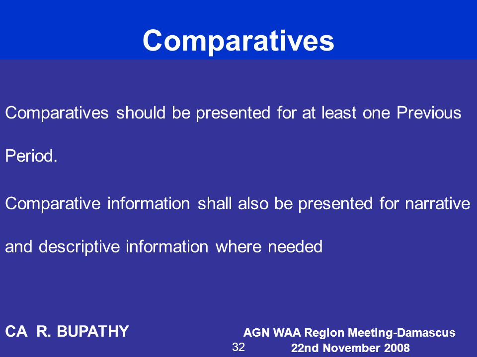 Comparatives Comparatives should be presented for at least one Previous Period.