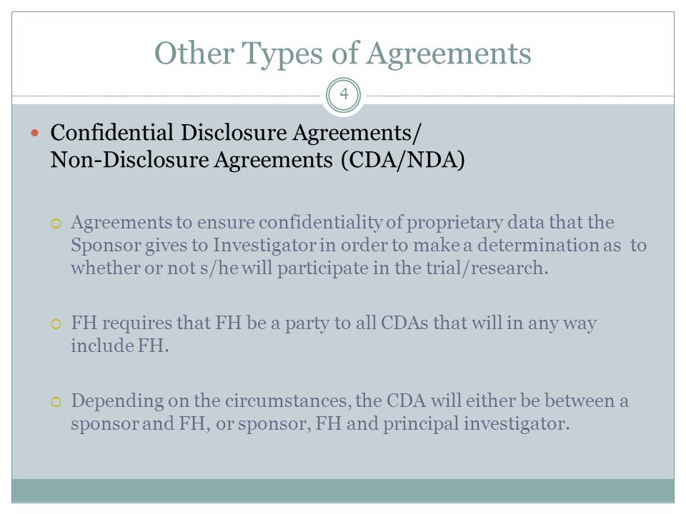 Other Types of Agreements