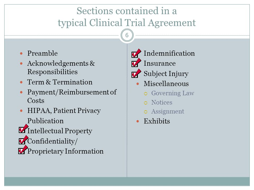 Sections contained in a typical Clinical Trial Agreement