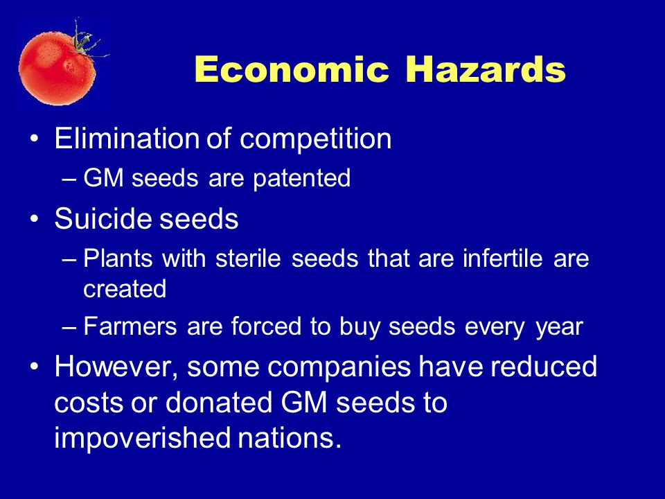 Economic Hazards Elimination of competition Suicide seeds