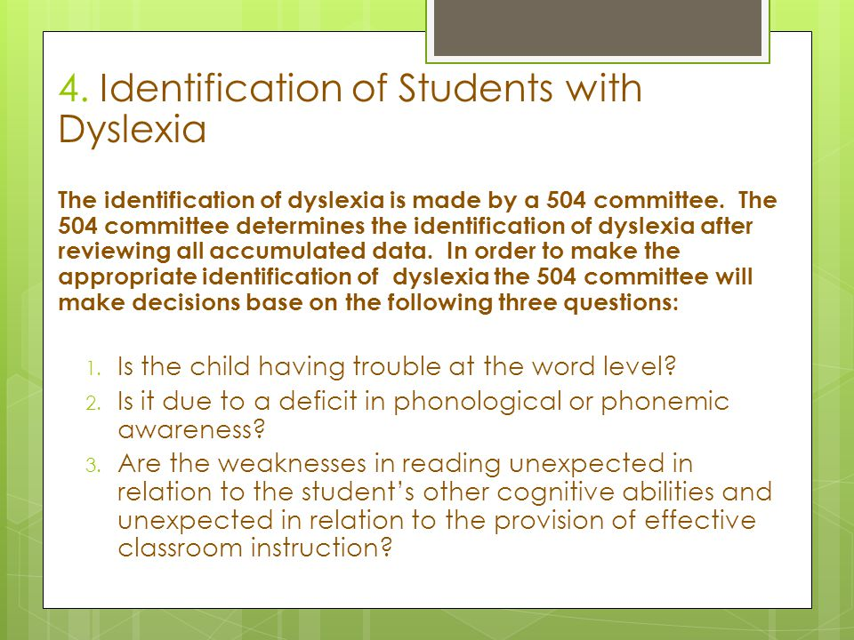 4. Identification of Students with Dyslexia