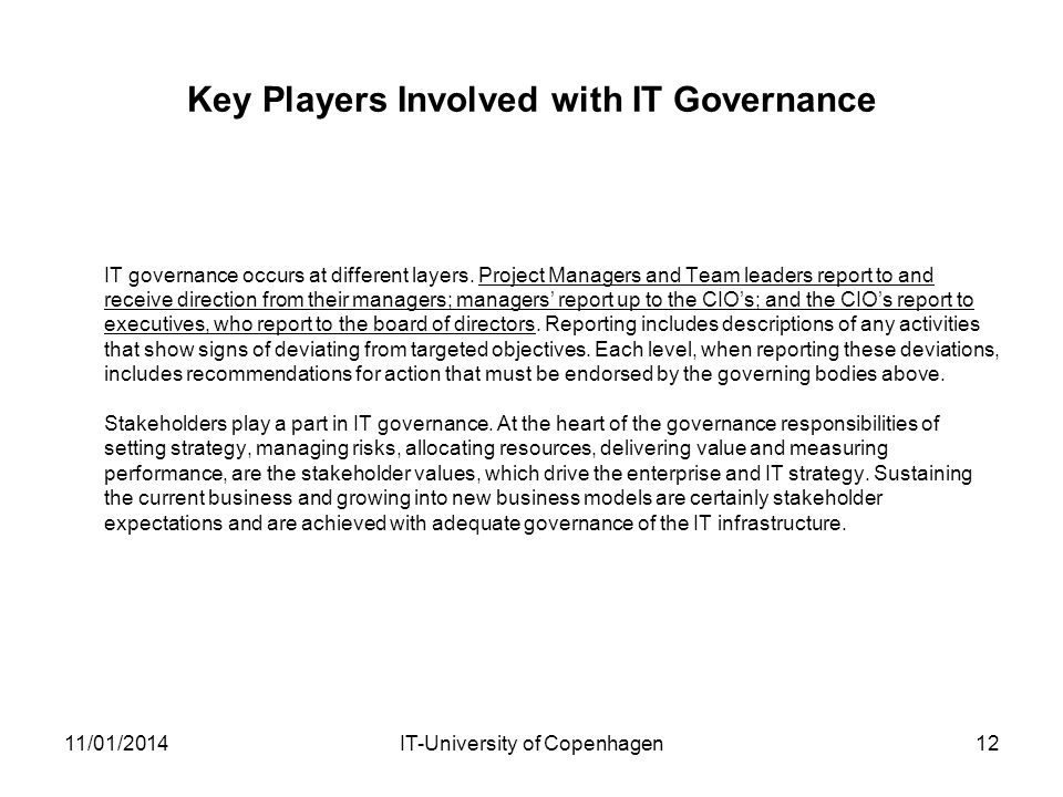 Key Players Involved with IT Governance
