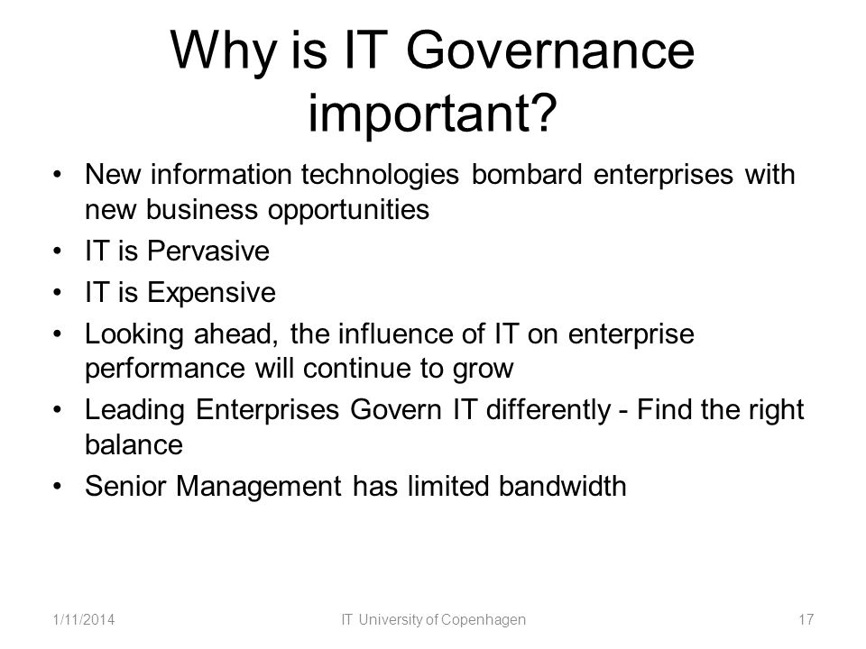 Why is IT Governance important