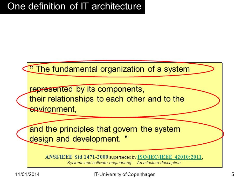 One definition of IT architecture