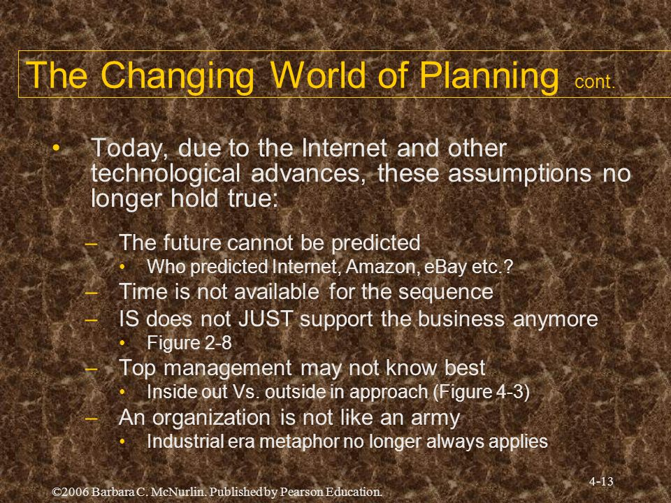 The Changing World of Planning cont.