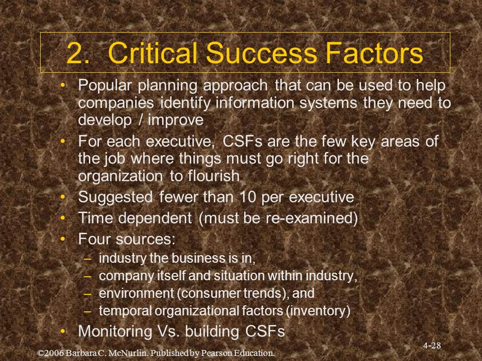 2. Critical Success Factors