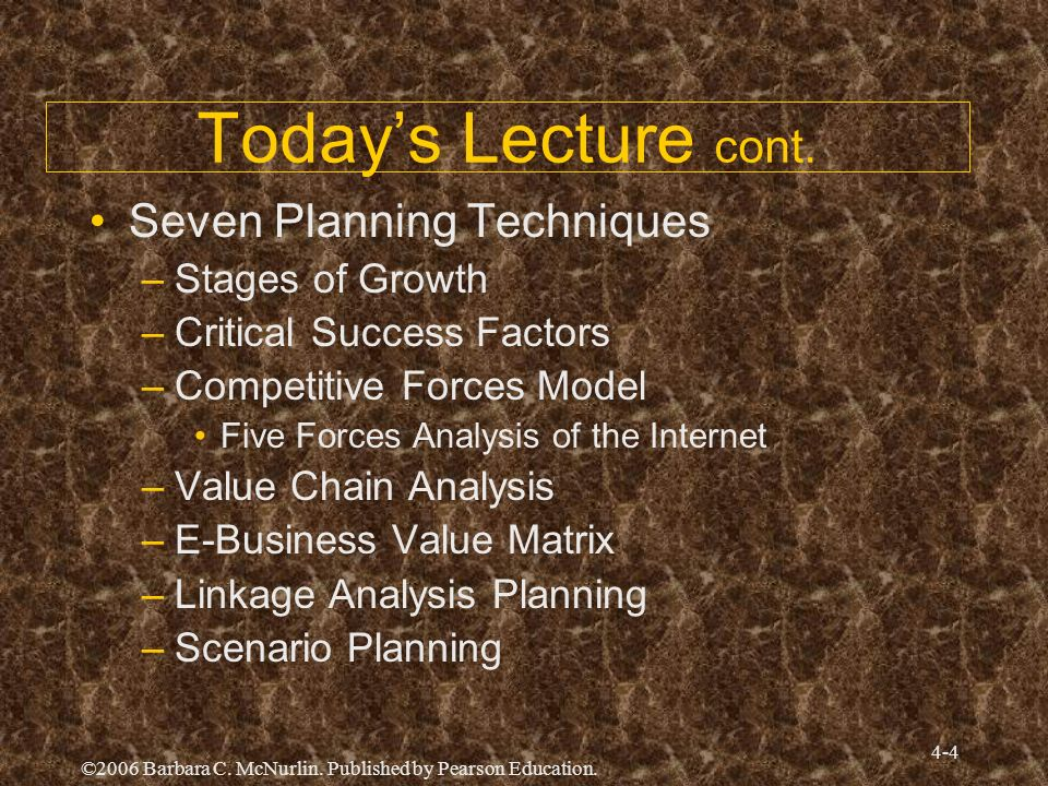 Today's Lecture cont. Seven Planning Techniques Stages of Growth