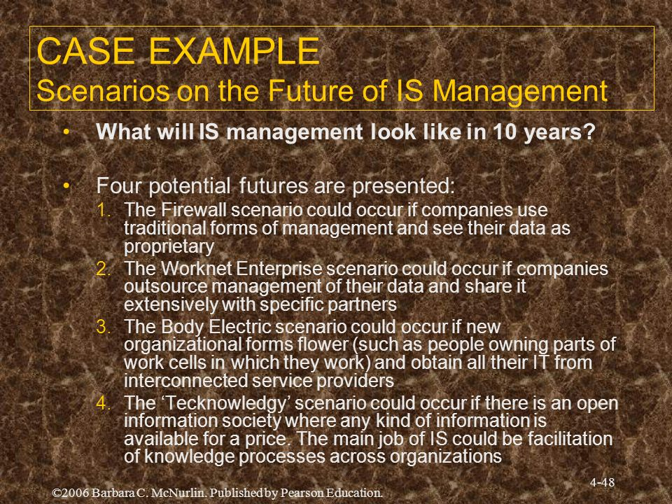 CASE EXAMPLE Scenarios on the Future of IS Management