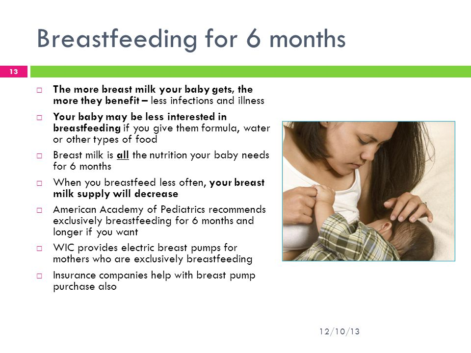 Breastfeeding for 6 months