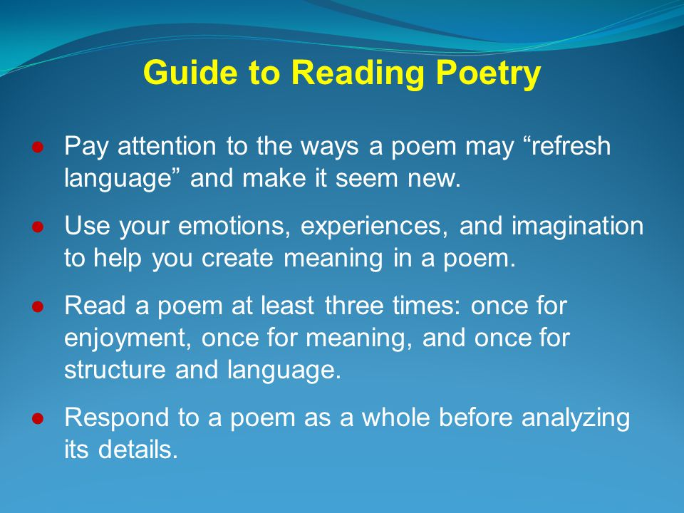 Guide to Reading Poetry