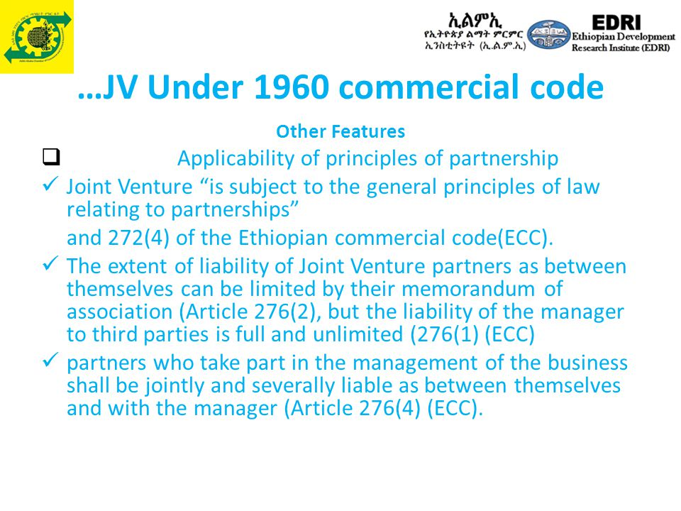 Joint Ventures, Prospects and Challenges in Ethiopia - ppt
