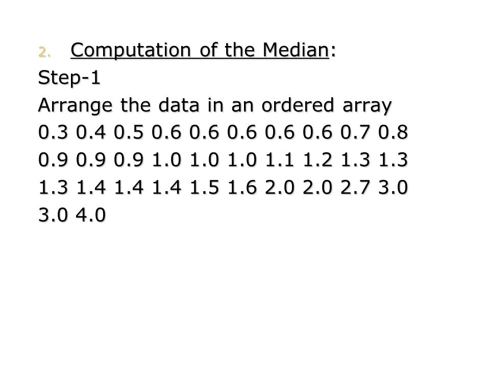 Computation of the Median: