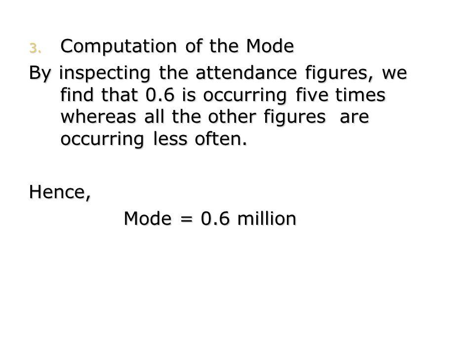 Computation of the Mode