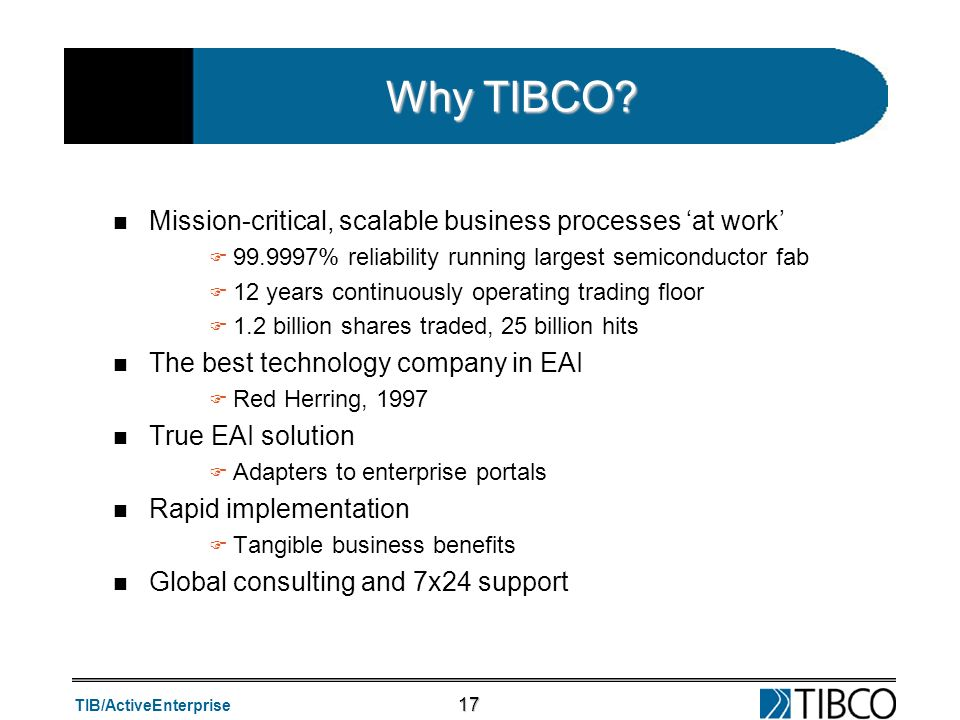 Why TIBCO Mission-critical, scalable business processes 'at work'