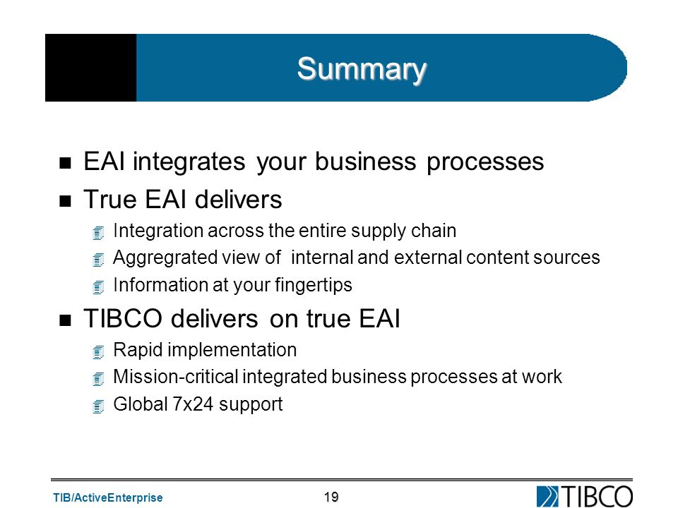 Summary EAI integrates your business processes True EAI delivers