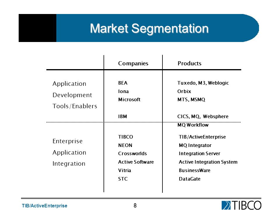 Market Segmentation Application Development Tools/Enablers Enterprise