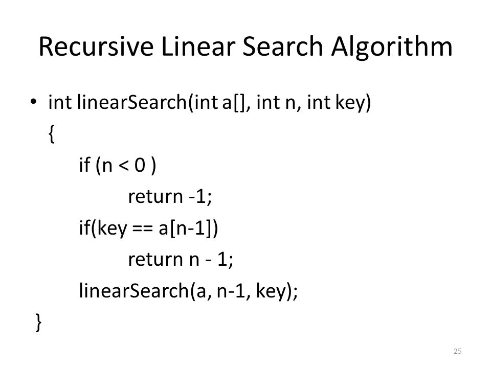 Recursive Linear Search Algorithm