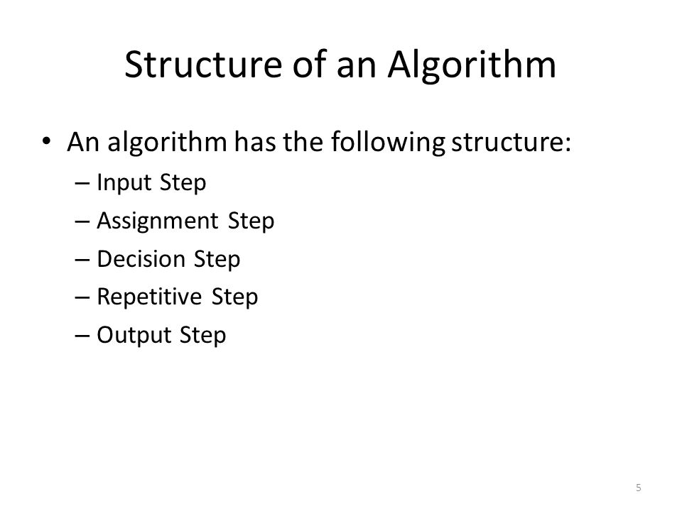 Structure of an Algorithm