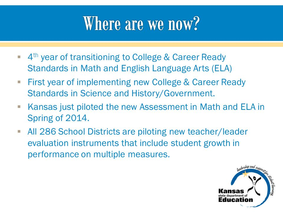 Where are we now 4th year of transitioning to College & Career Ready Standards in Math and English Language Arts (ELA)