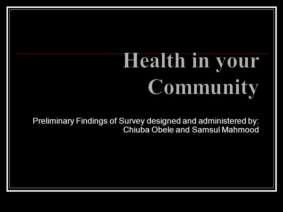 Health in your Community