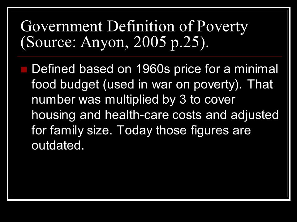 Government Definition of Poverty (Source: Anyon, 2005 p.25).
