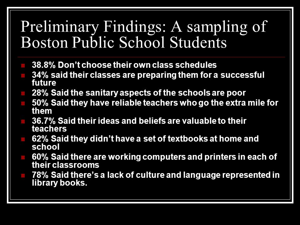 Preliminary Findings: A sampling of Boston Public School Students