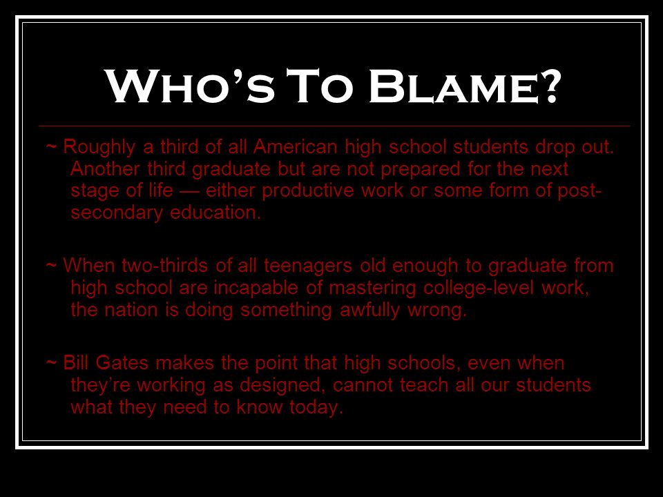 Who's To Blame