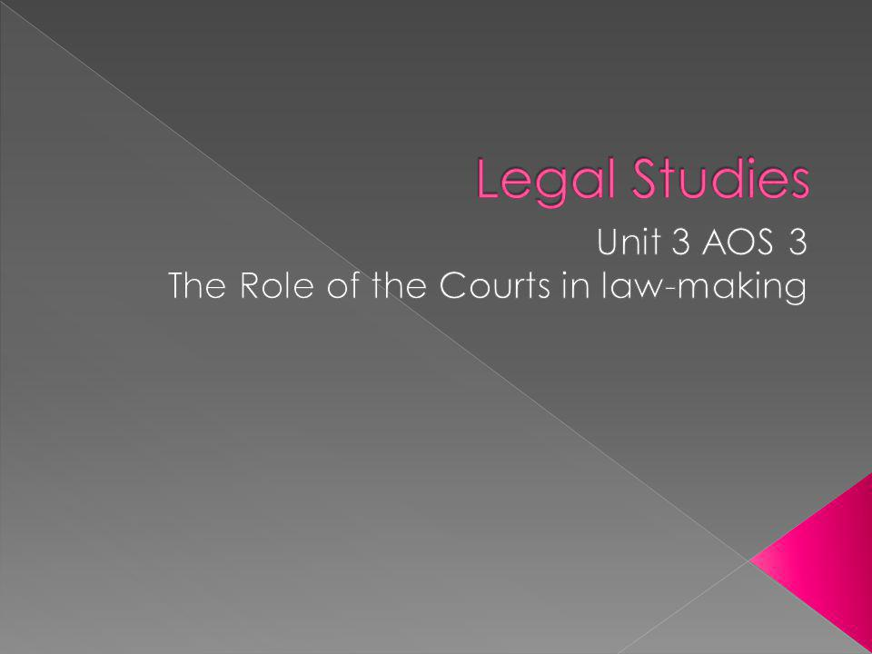 Unit 3 AOS 3 The Role of the Courts in law-making