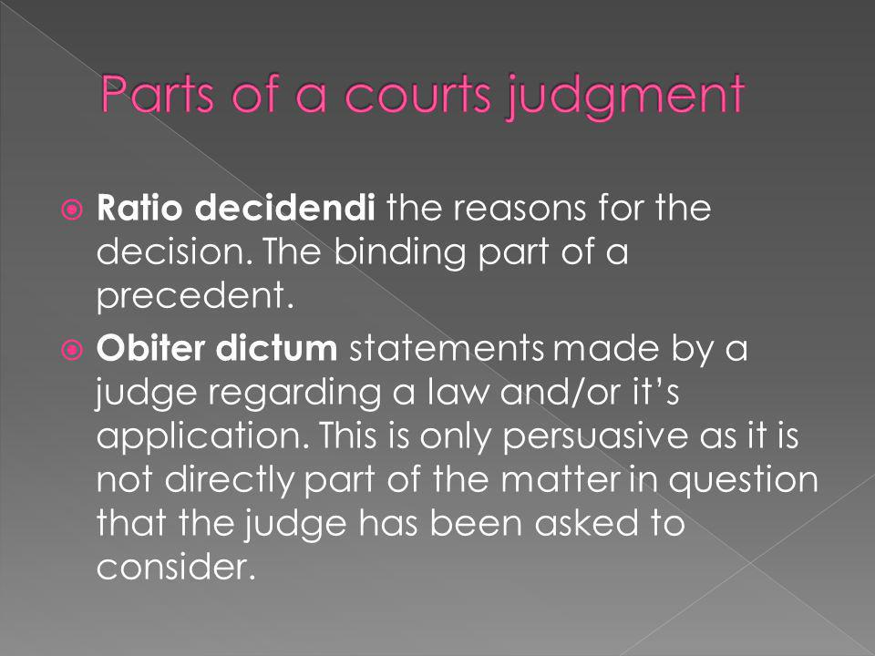 Parts of a courts judgment