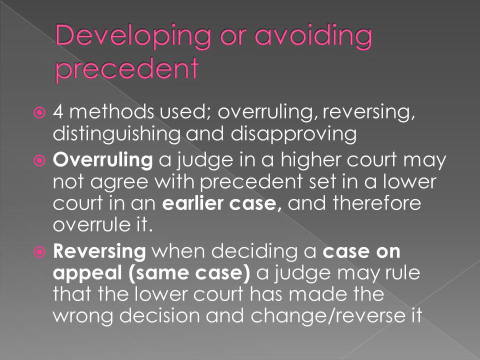 Developing or avoiding precedent