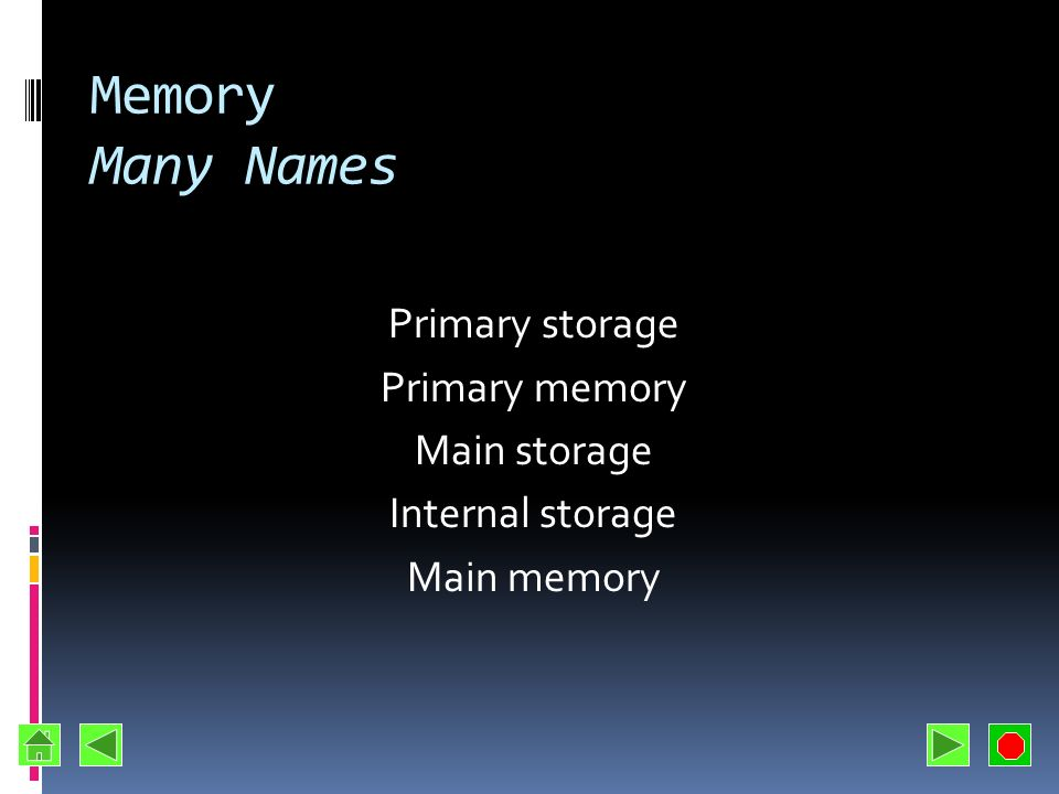 Memory Many Names Primary storage Primary memory Main storage Internal storage Main memory