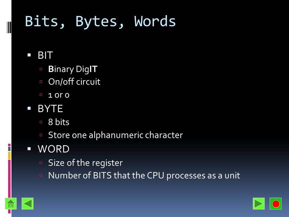 Bits, Bytes, Words BIT BYTE WORD Binary DigIT On/off circuit 1 or 0