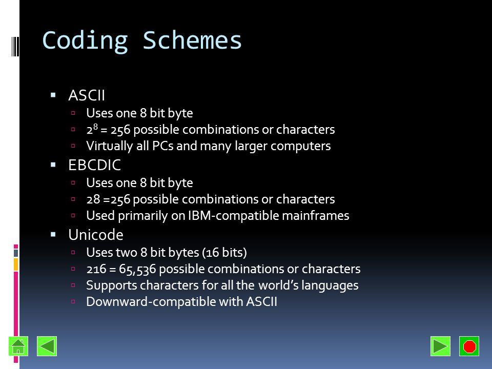 Coding Schemes ASCII EBCDIC Unicode Uses one 8 bit byte