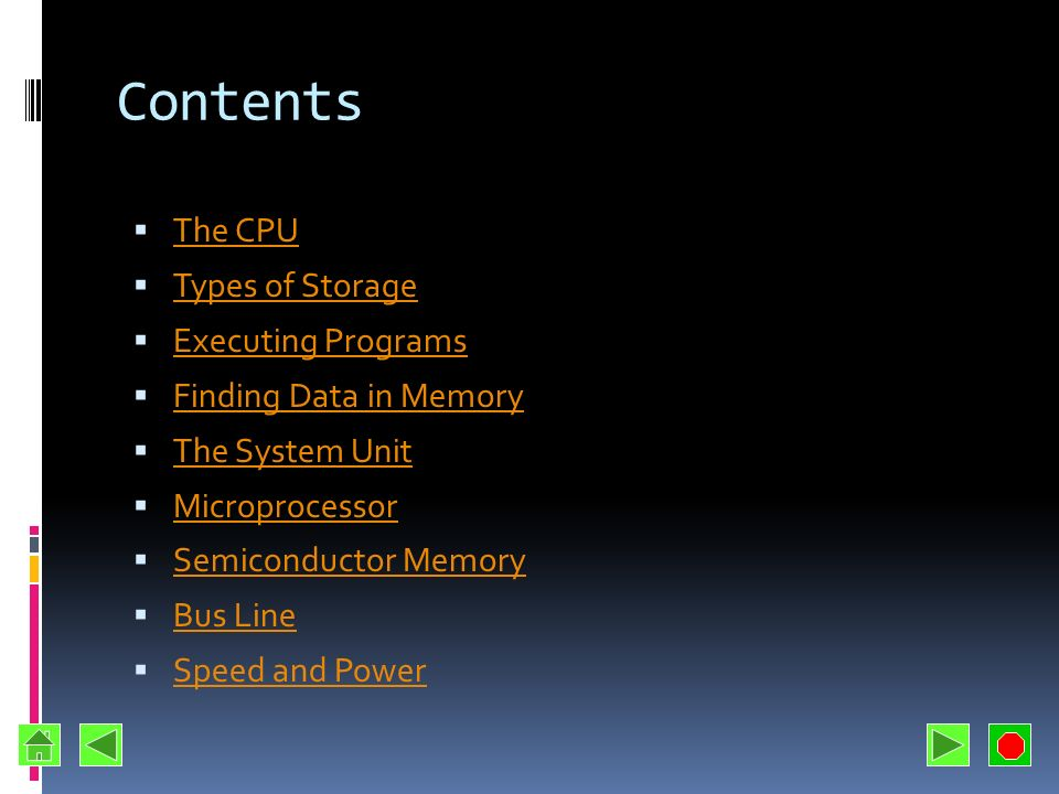 Contents The CPU Types of Storage Executing Programs