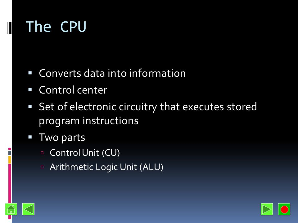 The CPU Converts data into information Control center