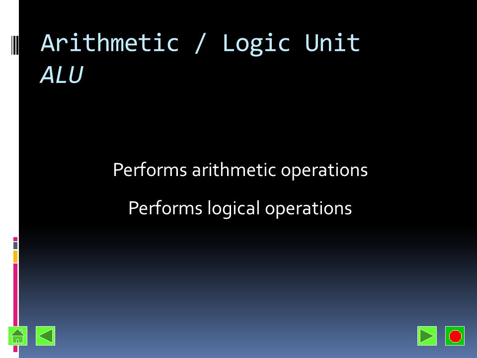 Arithmetic / Logic Unit ALU